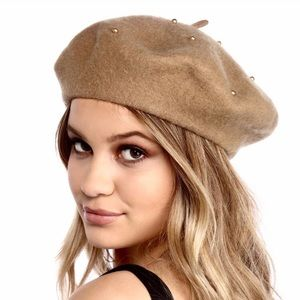 b8e25bb824cbf Anthropologie Accessories - NWT David and Young Camel Wool Beret with Pearls